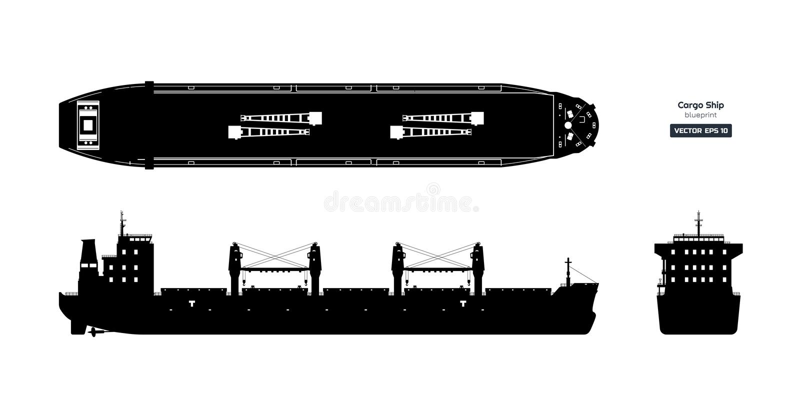 Black silhouette of cargo ship on white background. Top, side and front view of tanker. Container boat blueprint. Vector illustration vector illustration