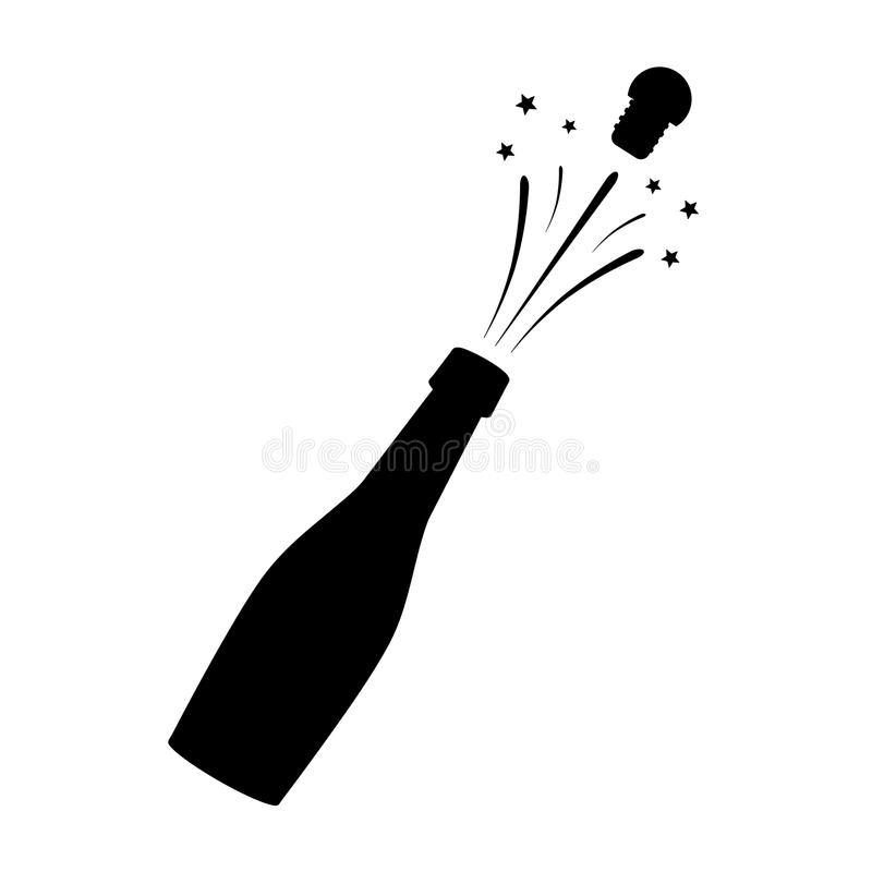 Black silhouette of a champagne bottle. Iconography. Vector. Illustration vector illustration