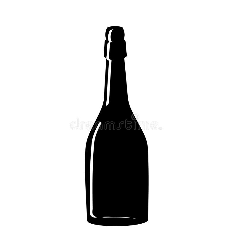 Black silhouette of a champagne bottle. Iconography. Vector. Illustration royalty free illustration