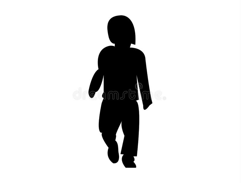 Black silhouette of a child. Black silhouette contour of a little child walking isolated on white background vector illustration