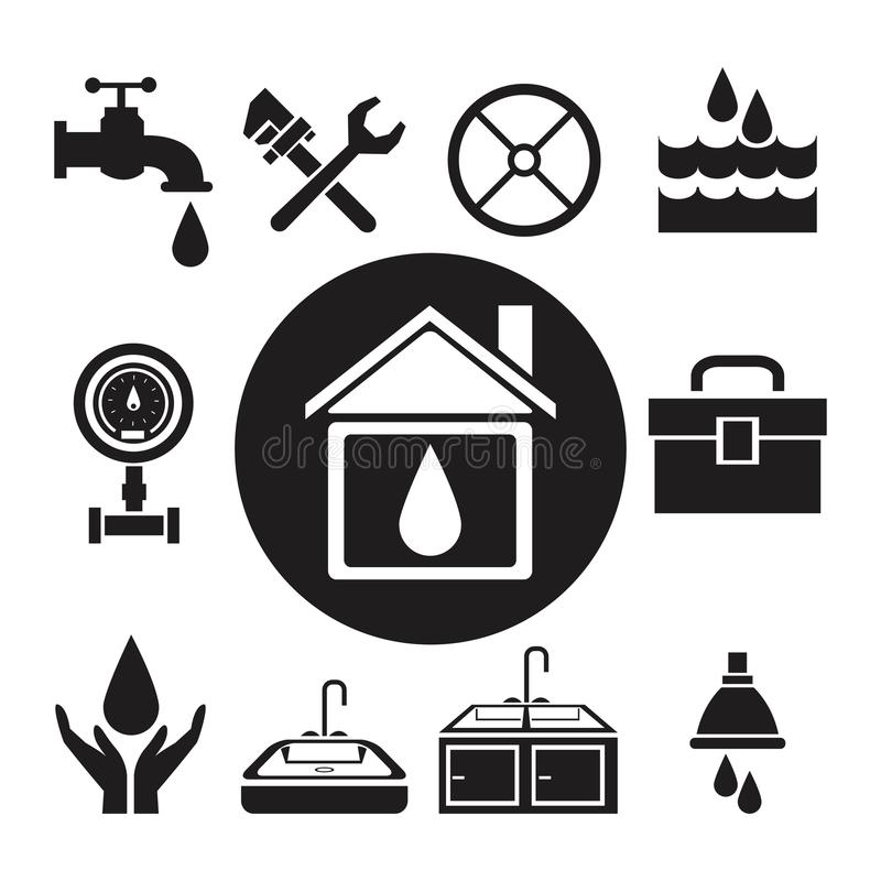 Black silhouette circular frame house with drop inside and icon plumbing tools vector illustration