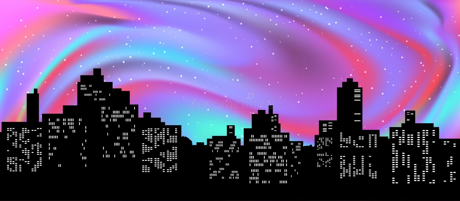 Black silhouette of cityscape. Northern lights in the night sky. Vector royalty free illustration