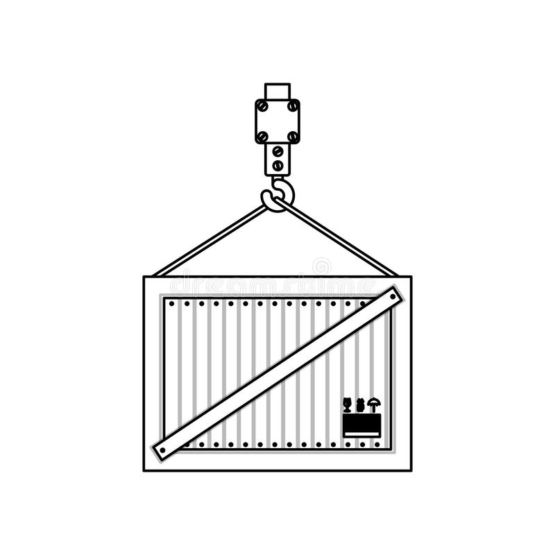 Black silhouette contour hook crane holding a load container. Vector illustration stock illustration