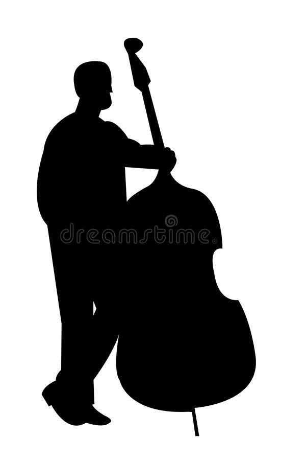 A black silhouette of a contrabass player vector illustration
