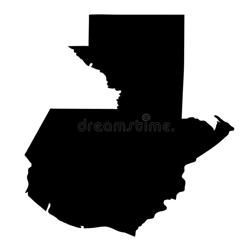 black silhouette country borders map of Guatemala on white background of vector illustration stock illustration