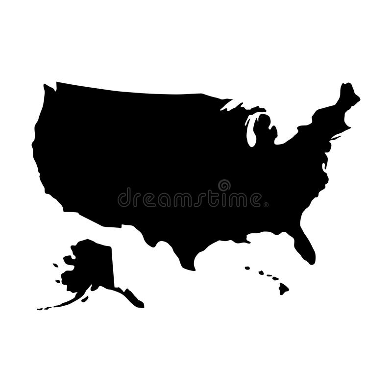 Black silhouette country borders map of United States of America vector illustration