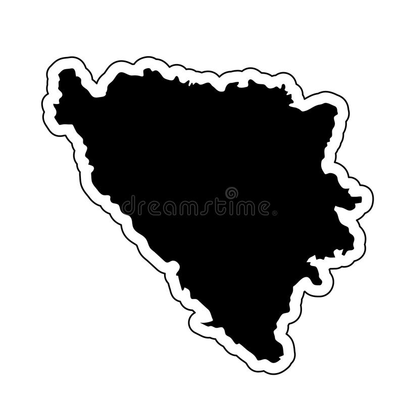 Black silhouette of the country Bosnia and Herzegovina with the vector illustration