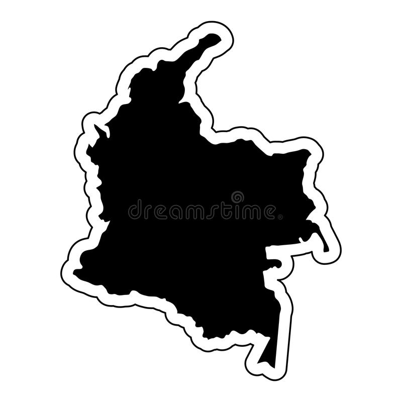 Black silhouette of the country Colombia with the contour line o royalty free illustration
