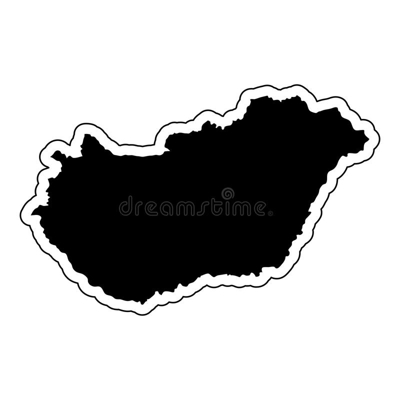 Black silhouette of the country Hungary with the contour line. E. Ffect of stickers, tag and label. Vector illustration royalty free illustration
