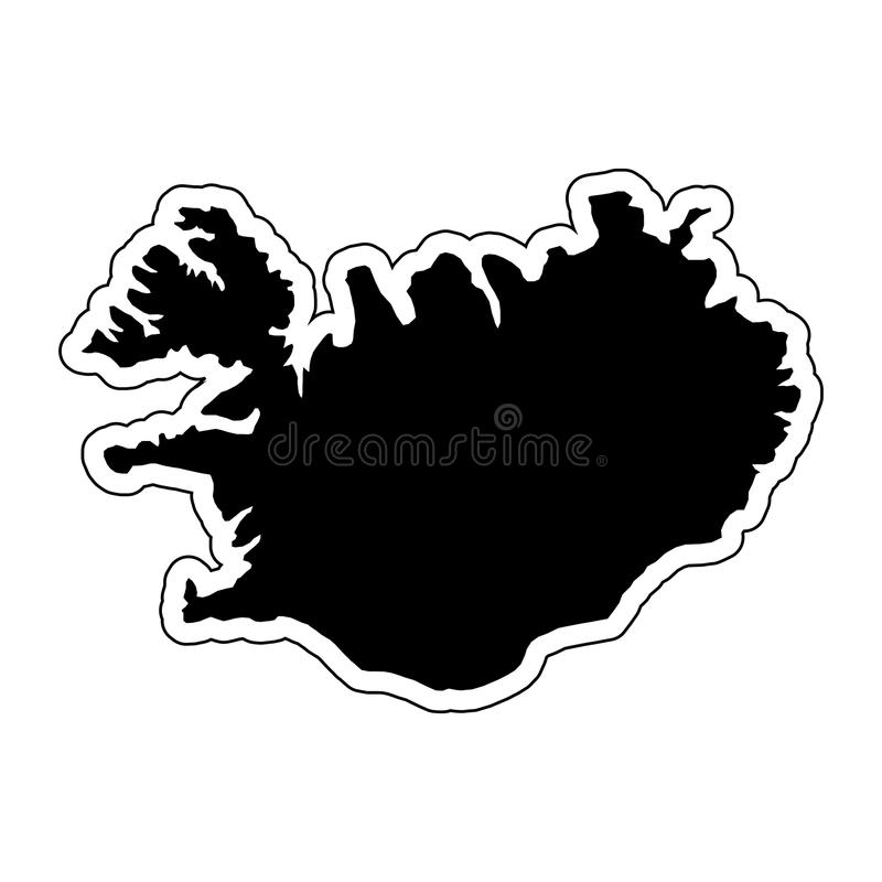 Black silhouette of the country Iceland with the contour line an. D the effect stickers of vector illustration royalty free illustration