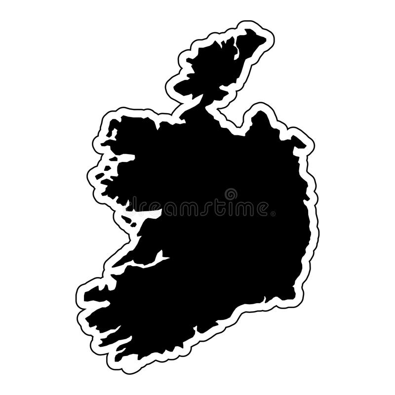 Black silhouette of the country Ireland with the contour line an vector illustration