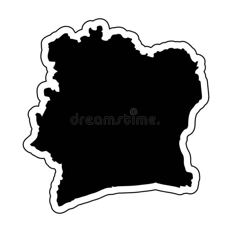 Black silhouette of the country Ivory Coast with the contour lin vector illustration