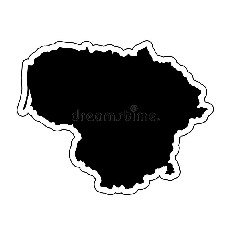 Black silhouette of the country Lithuania with the contour line. royalty free illustration
