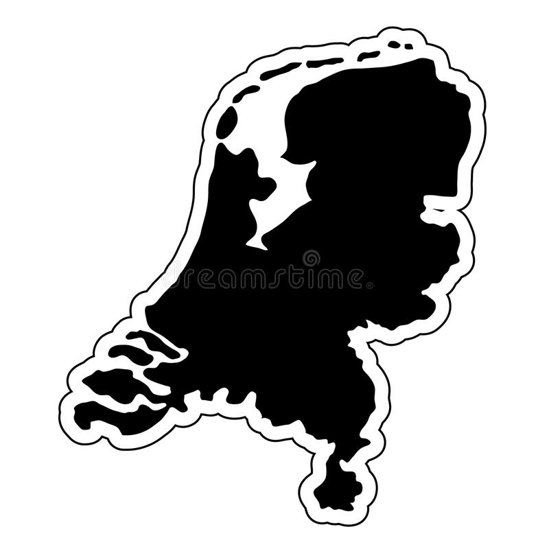 Black silhouette of the country Netherlands with the contour lin royalty free illustration