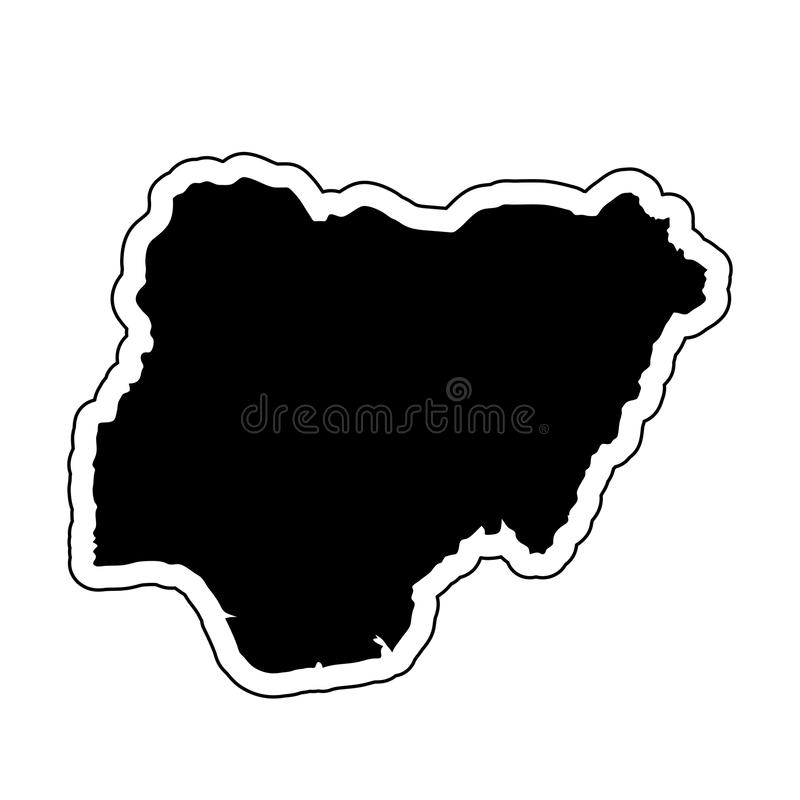 Black silhouette of the country Nigeria with the contour line or stock illustration