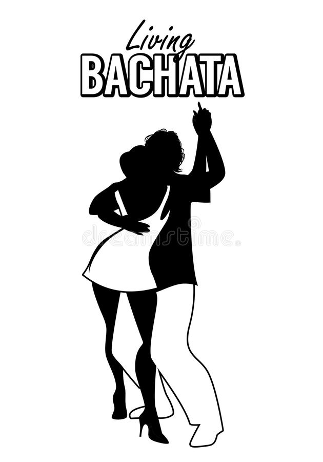 Black silhouette of a couple dancing bachata. Kizomba, merengue or salsa royalty free illustration