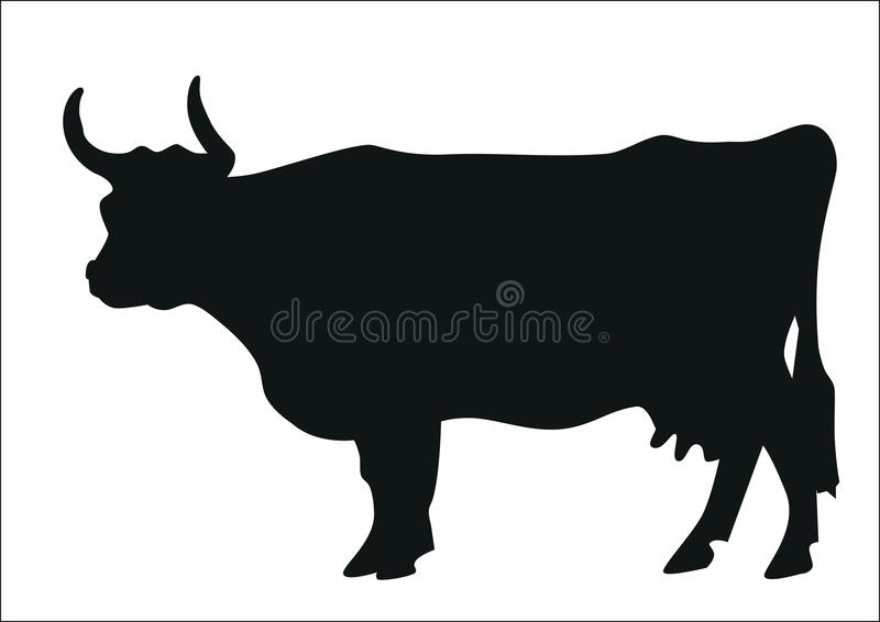 Black silhouette of a cow vector illustration