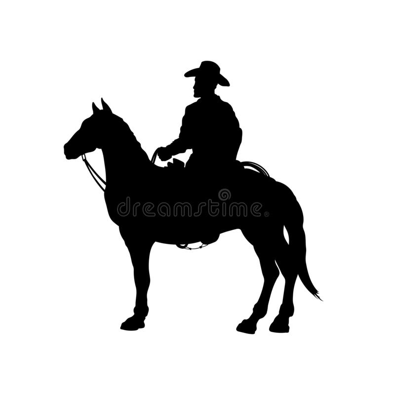 Black silhouette of cowboy on horse. Isolated image of american rider. Western landscape stock illustration
