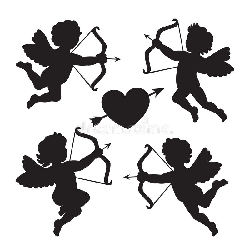 Black silhouette of a cupids. Design for Valentines day. Vector royalty free illustration