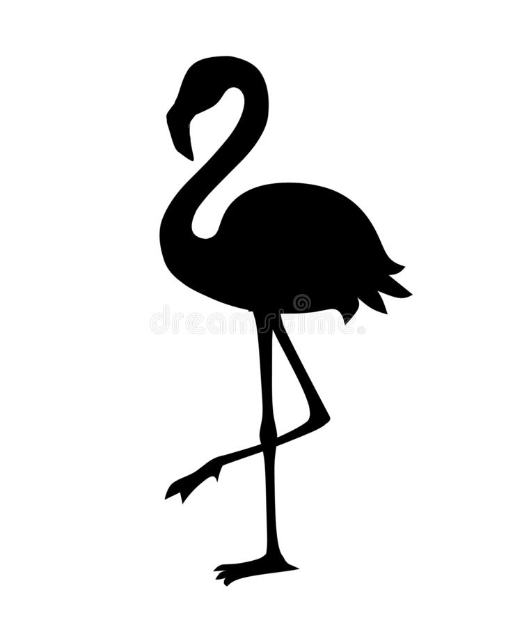 Black silhouette. Cute animal, peach pink flamingo. Cartoon animal character design. Flat vector illustration isolated on white vector illustration