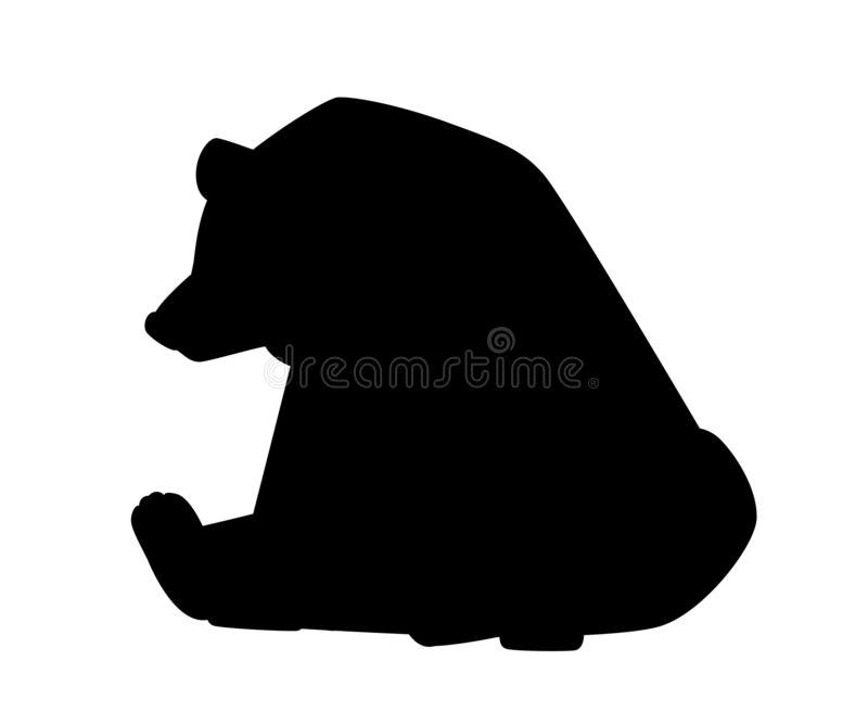 Black silhouette. Cute Brown bear. Carnivoran mammals, family Ursidae. Cartoon animal design. Flat  illustration isolated on stock illustration