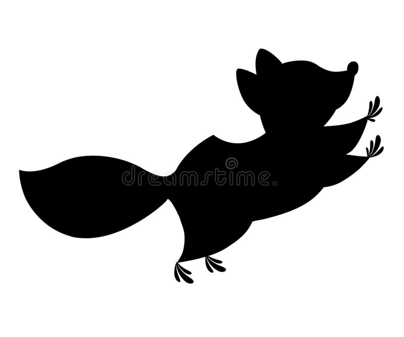 Black silhouette. Cute cartoon raccoon jumping, side view. Cartoon animal character design. Flat  illustration isolated on royalty free illustration