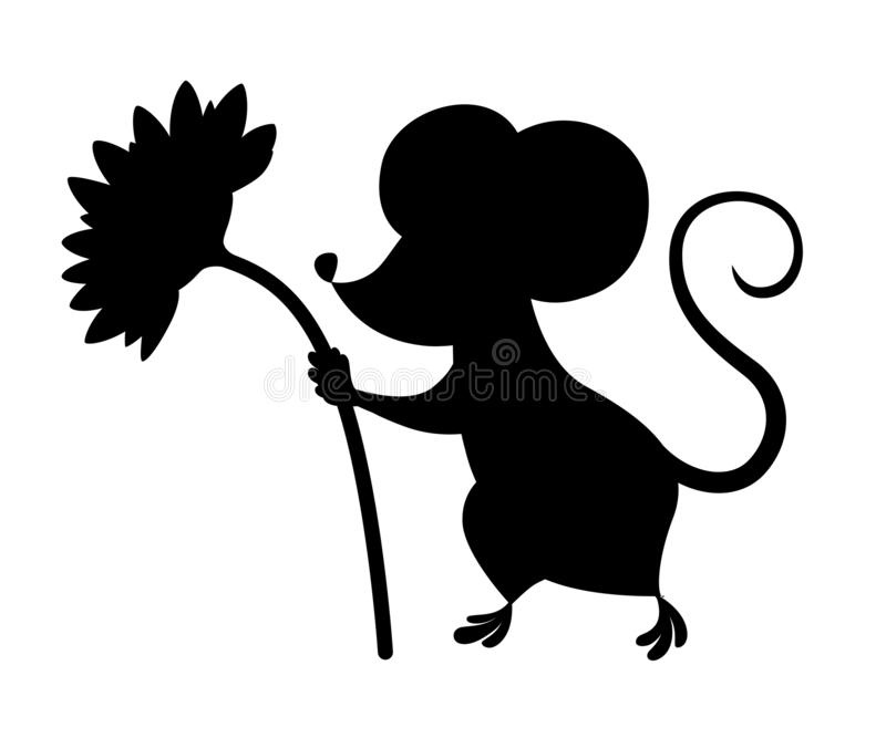 Black silhouette. Cute little gray mouse holds a flower. Cartoon animal character design. Flat  illustration isolated on stock illustration