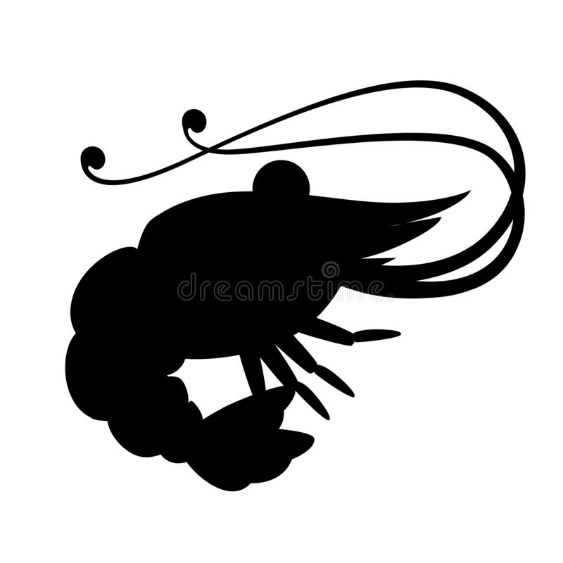 Black silhouette. Cute shrimp. Cartoon animal character design. Swimming crustaceans. Flat  illustration isolated on white stock illustration
