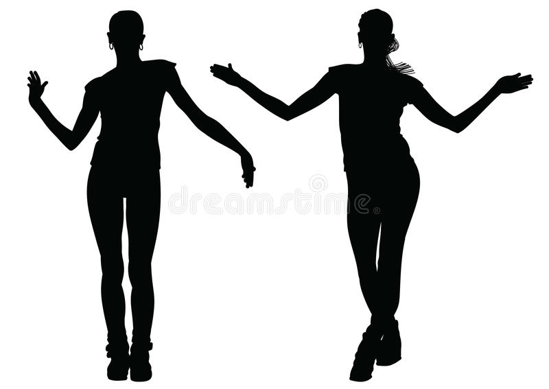 Black silhouette of a dancing girl in two versions vector illustration