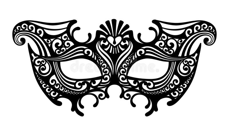 Black silhouette of a decorative carnival Venetian mask isolated royalty free illustration