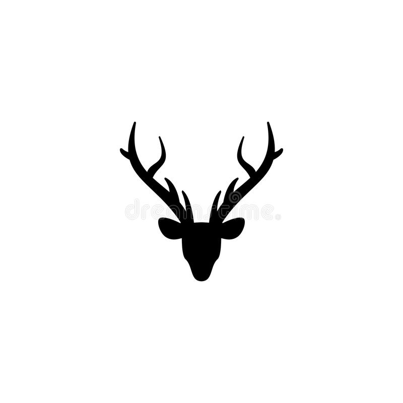 Black silhouette of deer head with antlers. flat icon isolated on white. Background royalty free illustration