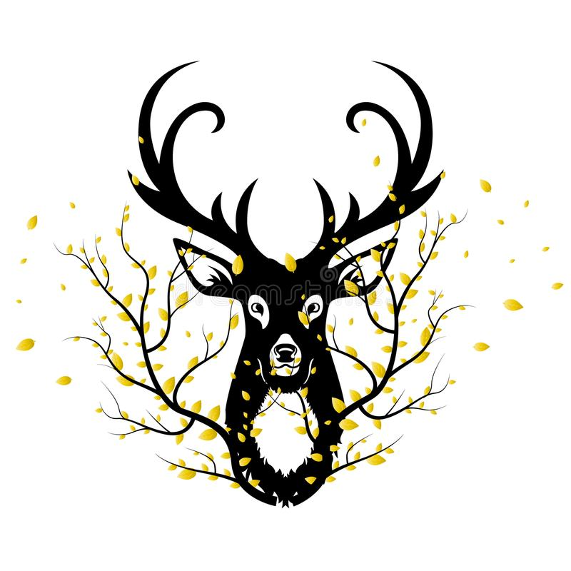 Black silhouette of a deer head and a branch of autumn leaves royalty free stock images