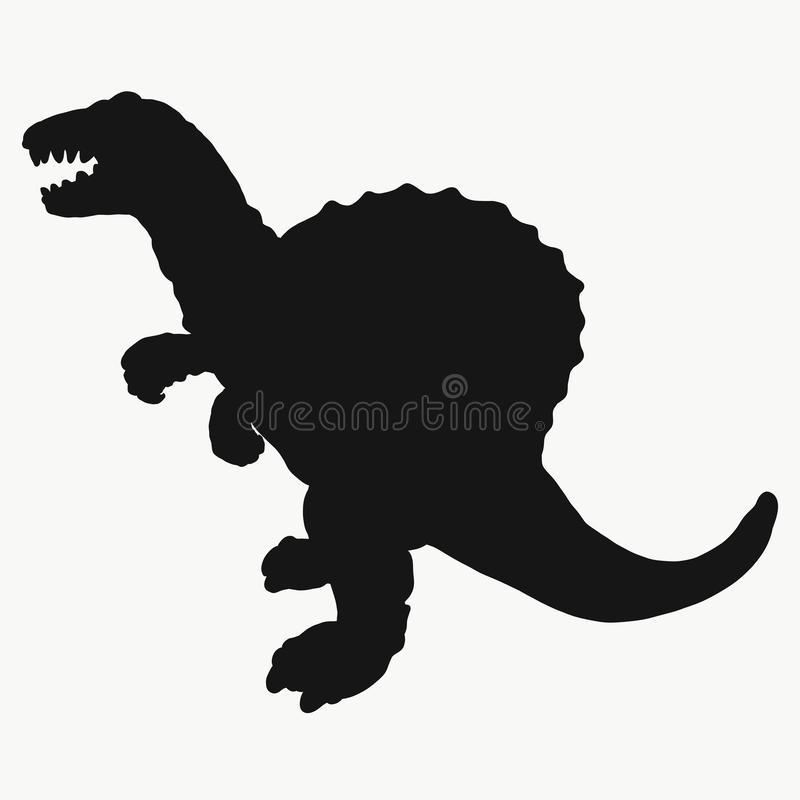 Black silhouette of a dinosaur.  stock illustration