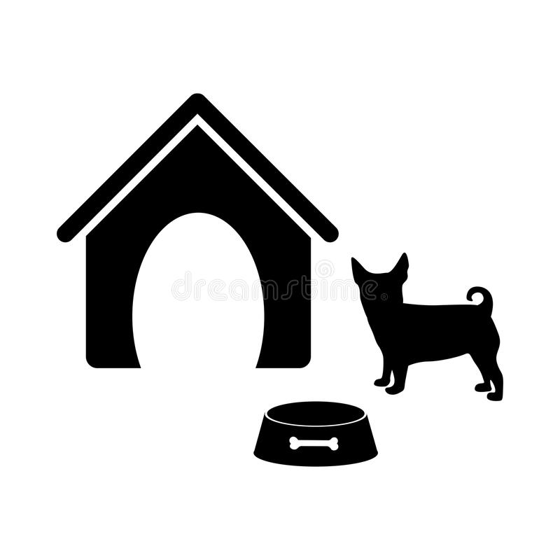 black silhouette dog animal house and pet bowl set royalty free illustration