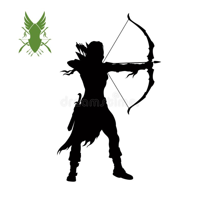 Black silhouette of elven archer with bow. Fantasy character. Games icon of scout with weapon. Isolated drawing of archery. Vector illustration stock illustration