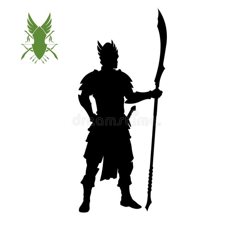 Black silhouette of elven knight with spear . Fantasy character. Games icon of elf with weapon. Isolated drawing. Of warrior. Vector illustration stock illustration