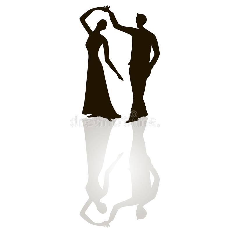 Black silhouette figures of dancing man and woman on white, grey shadow, tango dancing stock illustration