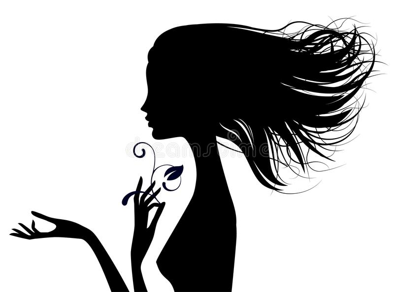 Black silhouette of fine naked girl head half-face with loose ha. Ir. There is in addition a vector format EPS 8 stock illustration