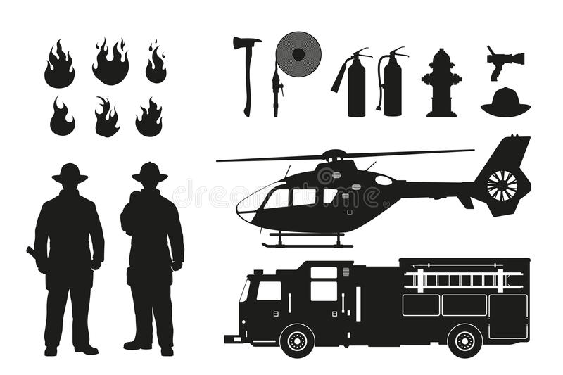 Black silhouette of firefighters and fire fighting equipment on white background. Helicopter and firemans car. royalty free illustration