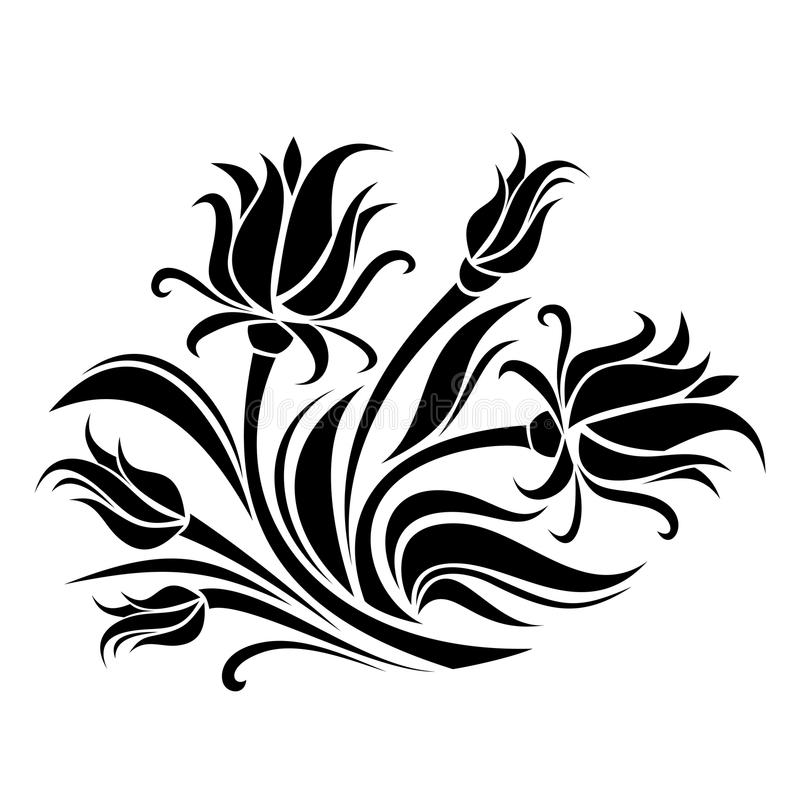 Black Flower And Vines Pattern Royalty Free Stock Image: Black Silhouette Of Flowers. Stock Vector