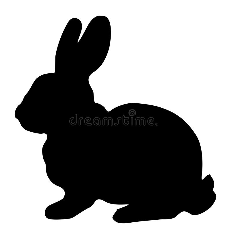Black silhouette of fluffy rabbit or hare sitting isolated on w stock illustration