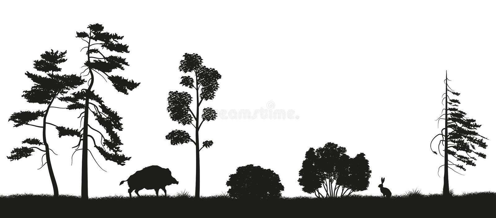 Black silhouette of forest trees on a white background. Panorama of forest with animals. Landscape of wild nature vector illustration
