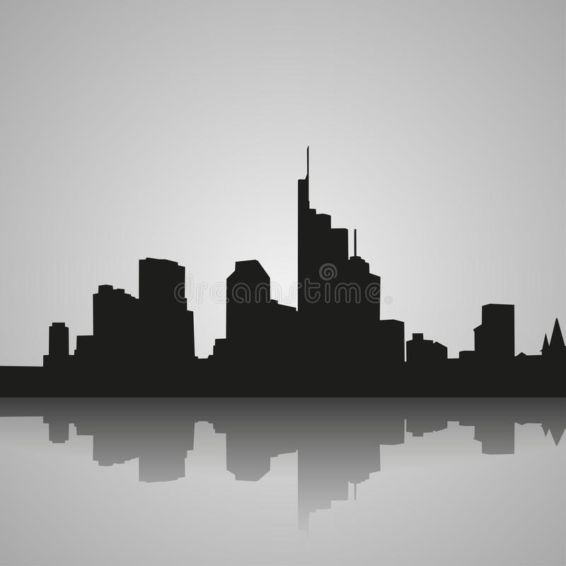 Black silhouette of Frankfurt with reflection. Vector illustration vector illustration