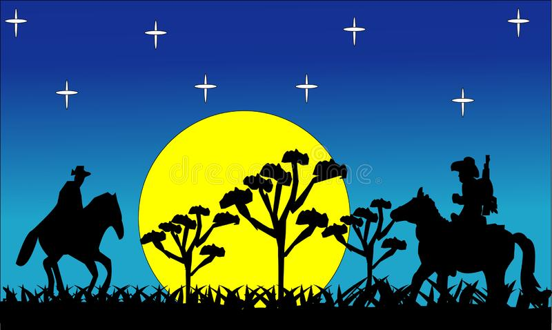 Black silhouette of giraffe on the savannah. Animals of Africa. African landscape. Panorama of wild nature. Vector illustration.S vector illustration