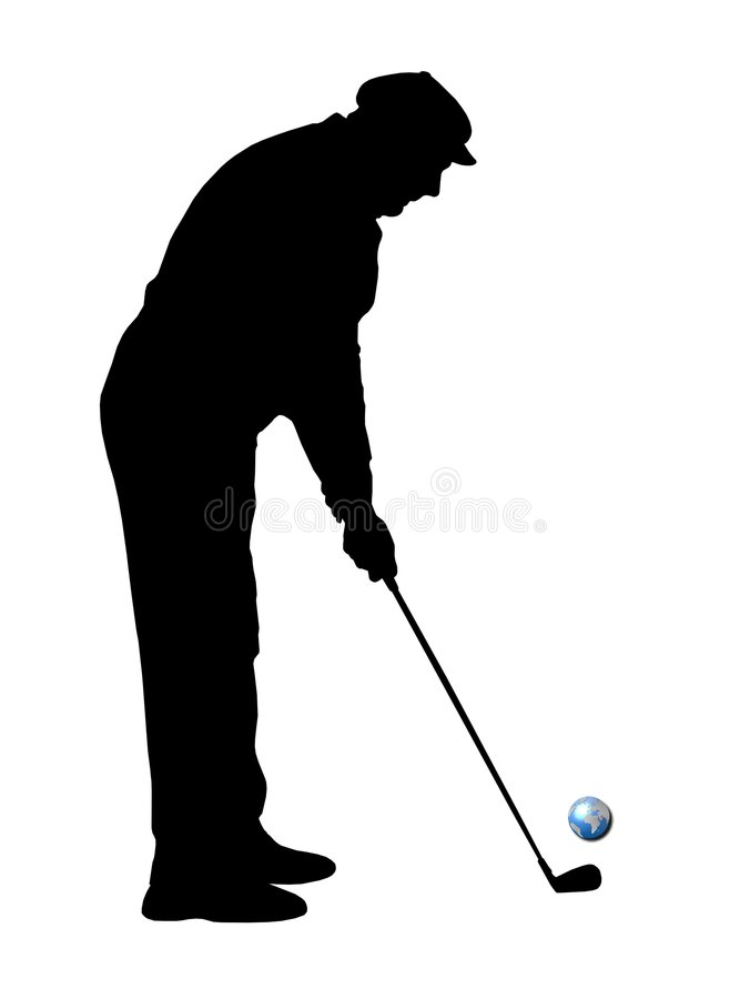 Black Silhouette Of Golfer Royalty Free Stock Photos