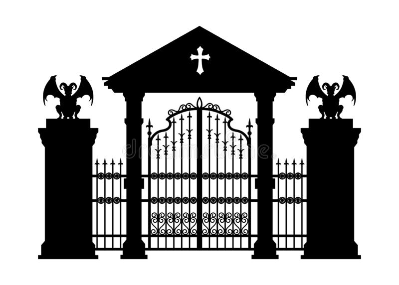Black silhouette of gothic cemetery gate. Isolated drawing of cathedral build. Fantasy architecture. European landmark royalty free illustration