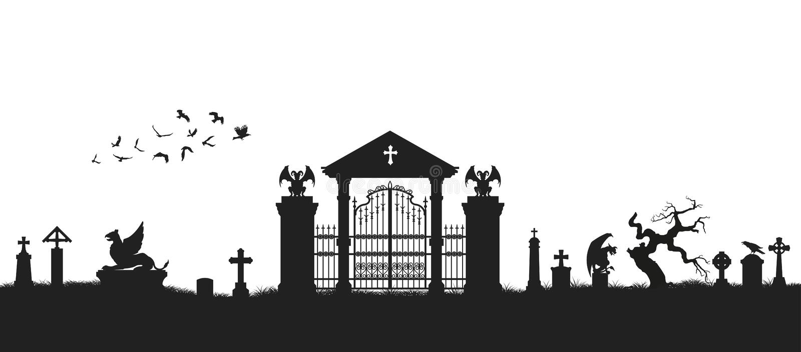 Black silhouette of gothic cemetery. Medieval architecture. Graveyard with gate, crypt and tombstones. Halloween scene. Vector illustration royalty free illustration