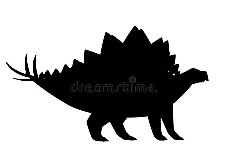 Black silhouette. Green stegosaurus. Cute dinosaur, cartoon design. Flat  illustration isolated on white background. Animal royalty free illustration