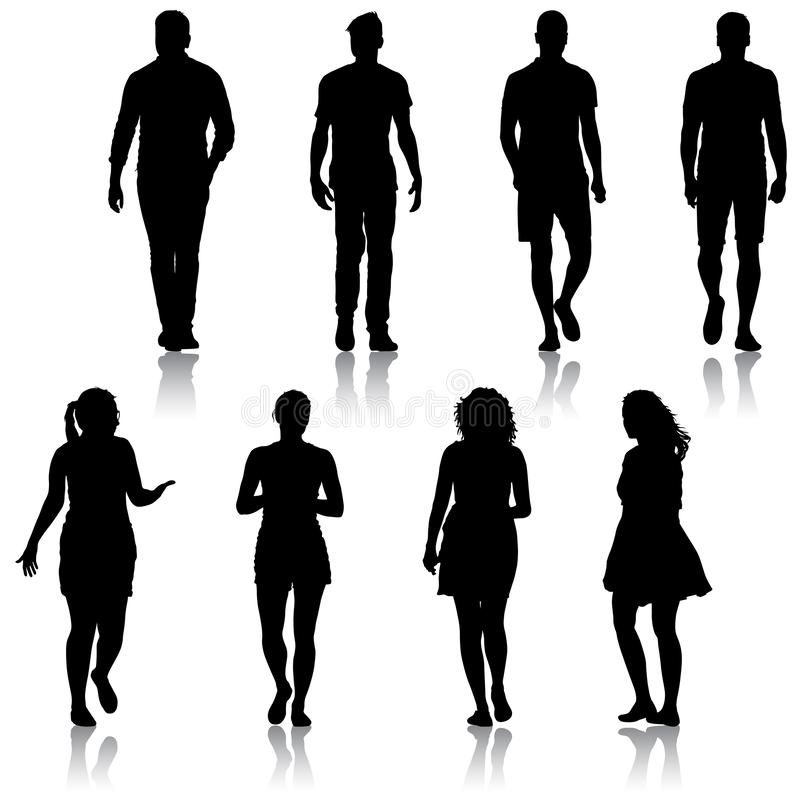 Black silhouette group of people standing in various poses royalty free stock photos