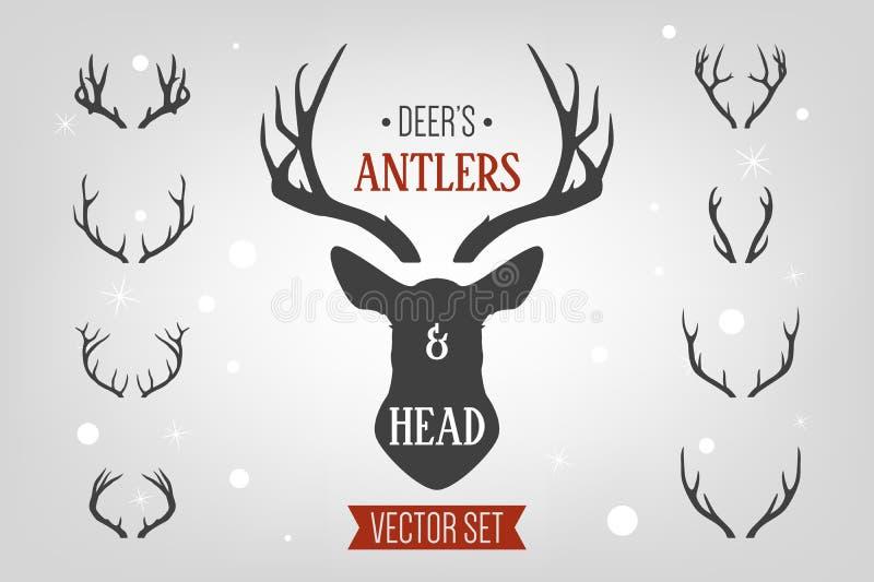 Black silhouette hand drawn deer s horn, antler and head set. Animal antler collection. Design elements of deer vector illustration